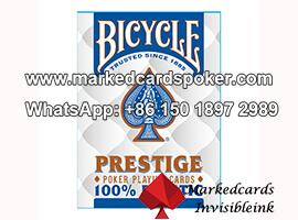 Plastico azul Bicycle Prestige codigo de barras marcada jugando barajas